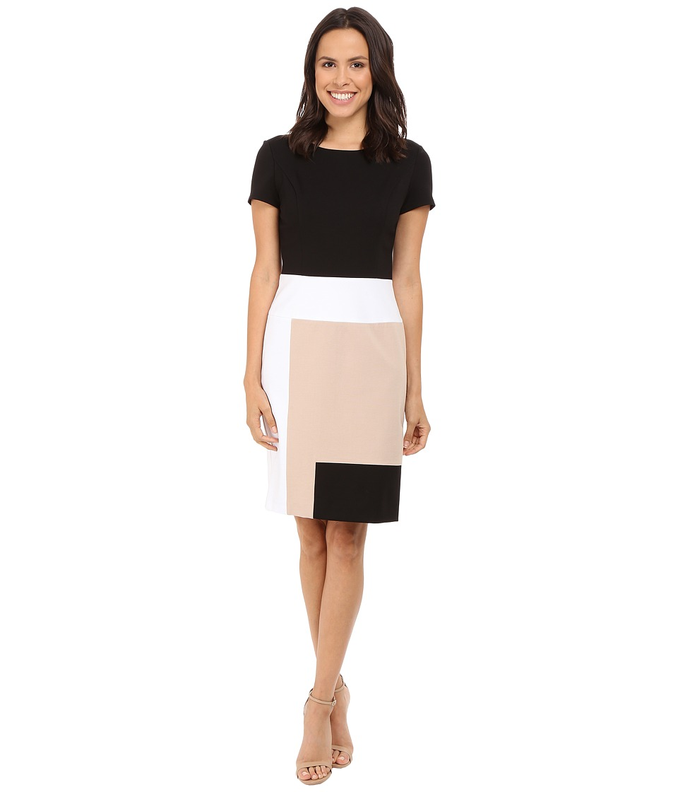 NUE by Shani Color Blocking Knit Dress (Black/Nude) Women