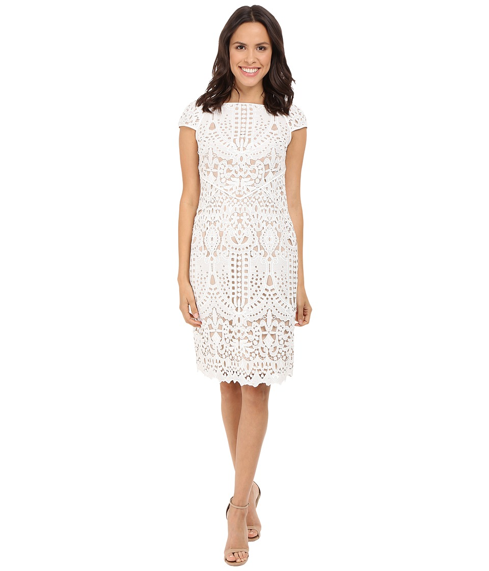 NUE by Shani - Embroidered Lace Dress w/ Piping Detail (White/Nude) Women's Dress