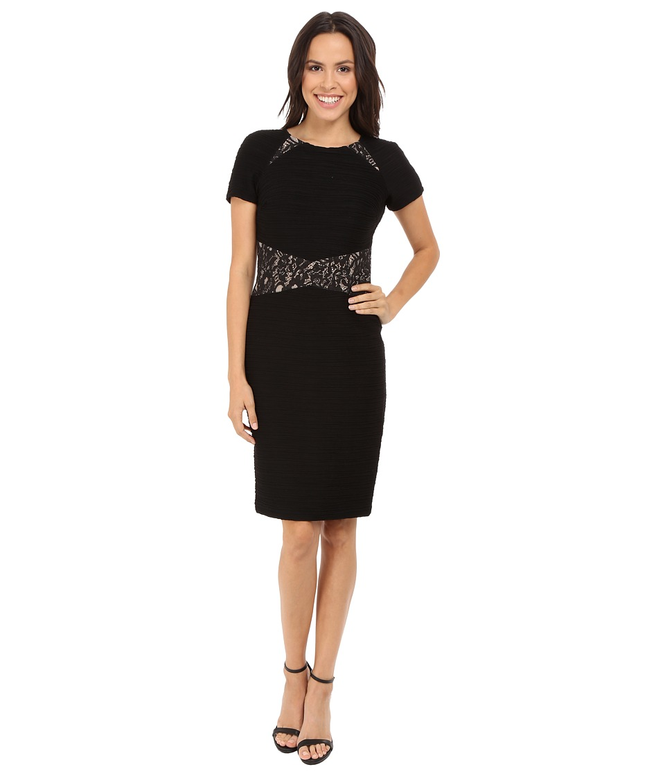 NUE by Shani Ottoman Knit Dress w/ Lace Inset at Waist and Shoulder Detail (Black/Nude) Women