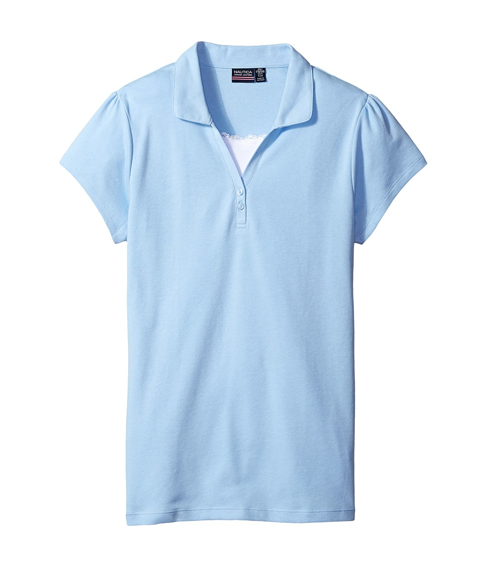 Nautica Kids - Girls Plus Short Sleeve Polo with Cami (Big Kids) (Light Blue) Girl's Short Sleeve Pullover