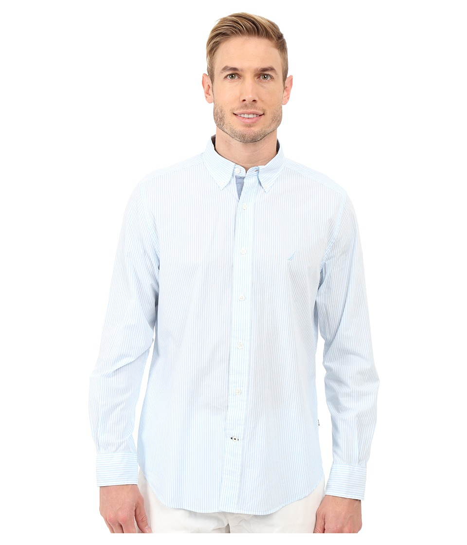 Nautica - Long Sleeve Stripe Poplin (Cool Breeze) Men's Clothing