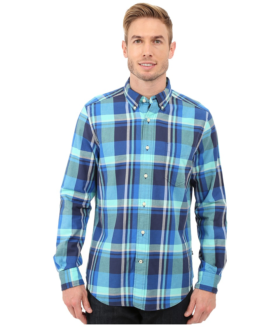 Nautica - Long Sleeve Large Plaid Pocket (Marine Blue) Men's Clothing