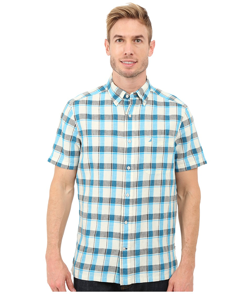 Nautica - Short Sleeve Yarn-Dye Large Plaid Pocket (Star Turquoise) Men's Short Sleeve Button Up