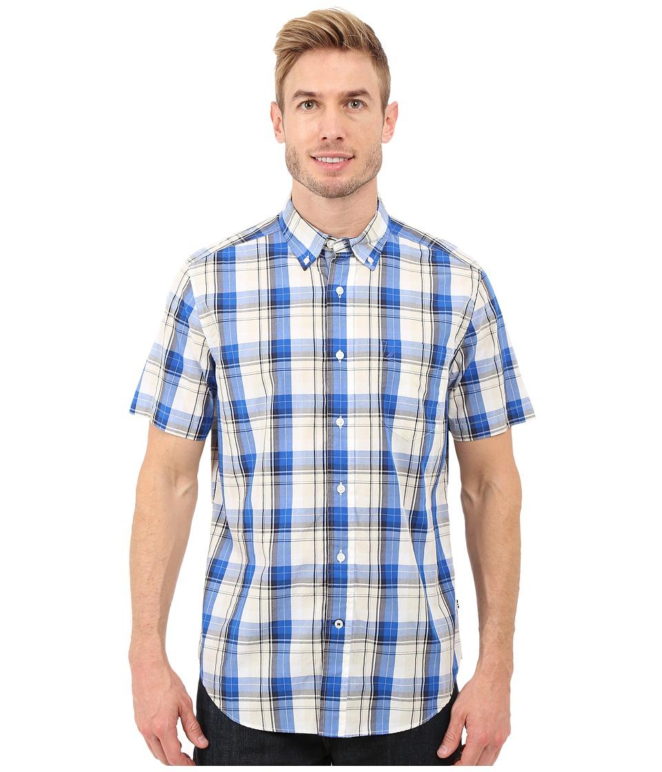 Nautica - Short Sleeve Large Plaid Pocket (Sea Cobalt) Men's Short Sleeve Button Up