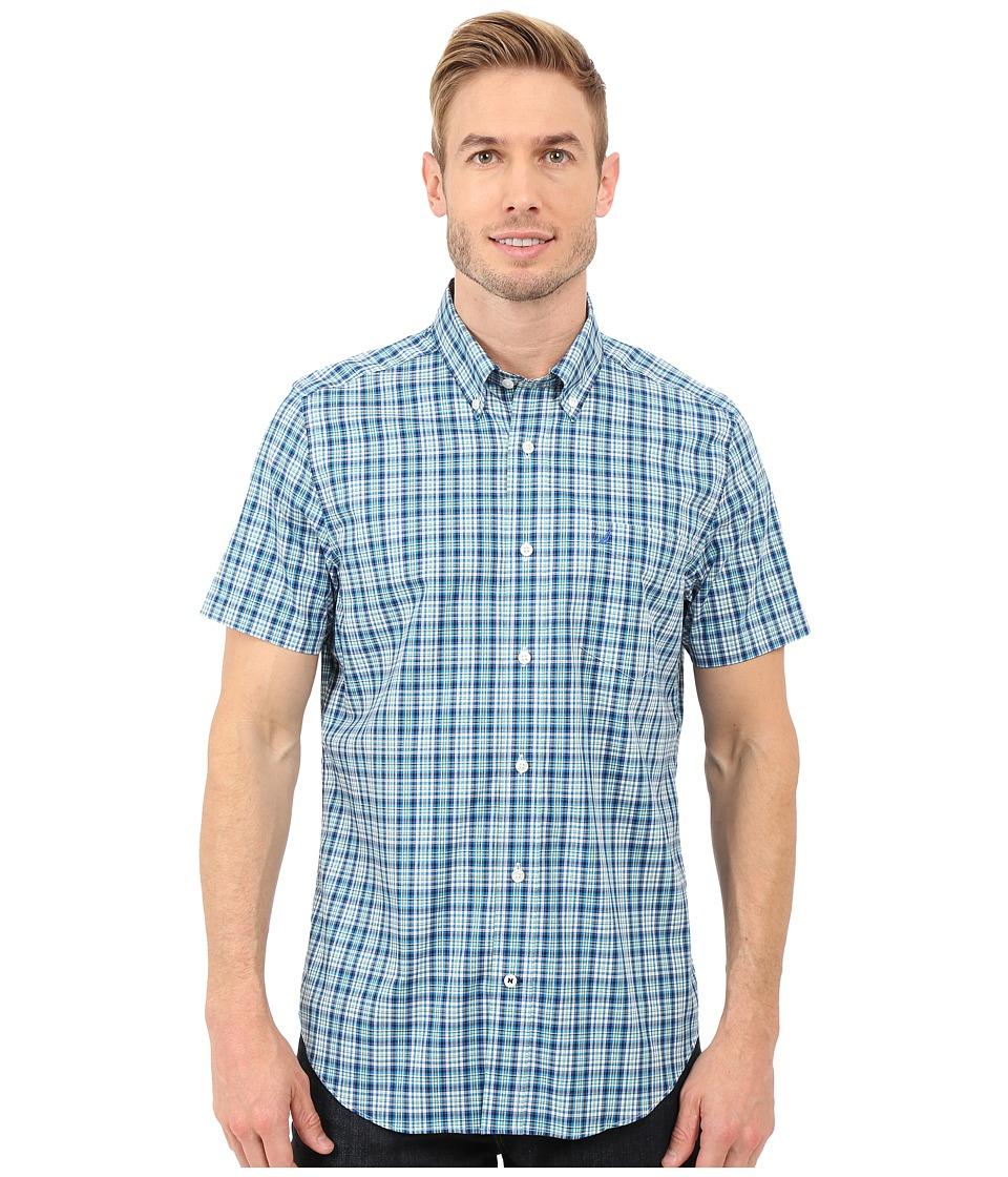 Nautica - Short Sleeve Wrinkle Plaid Pocket (Star Turquoise) Men's Clothing