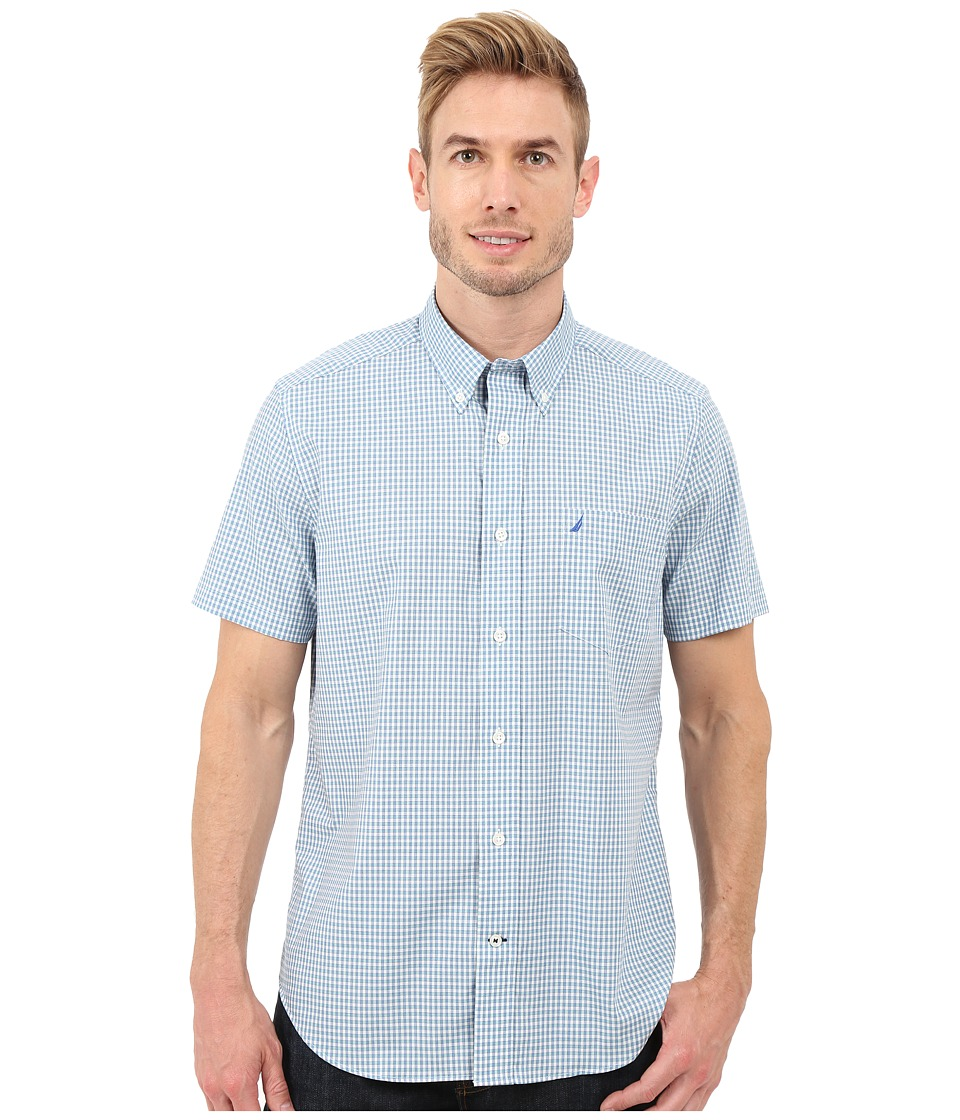 Nautica - Short Sleeve Wrinkle Mini Check Pocket (Sea Cobalt) Men's Short Sleeve Button Up