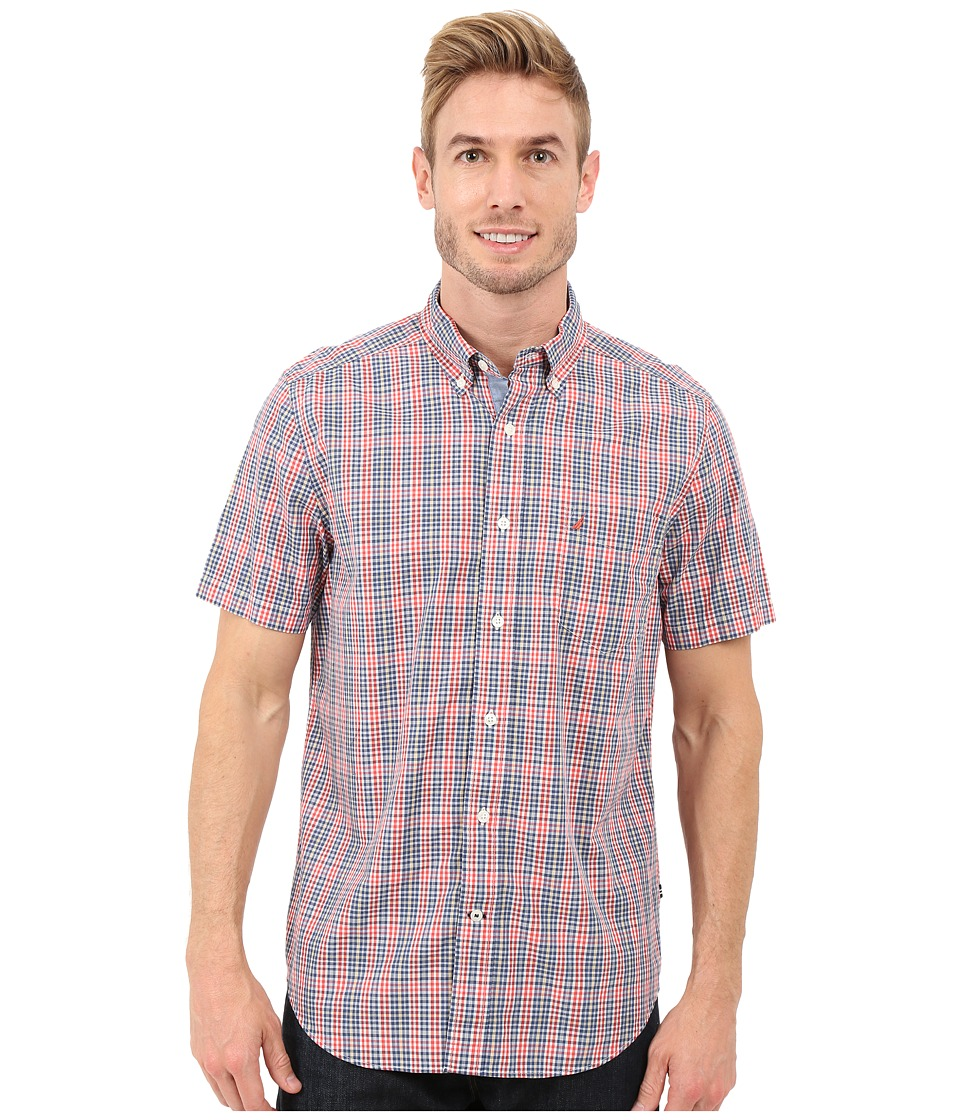 Nautica - Short Sleeve Medium Plaid Pocket (Light Mars Red) Men's Short Sleeve Button Up