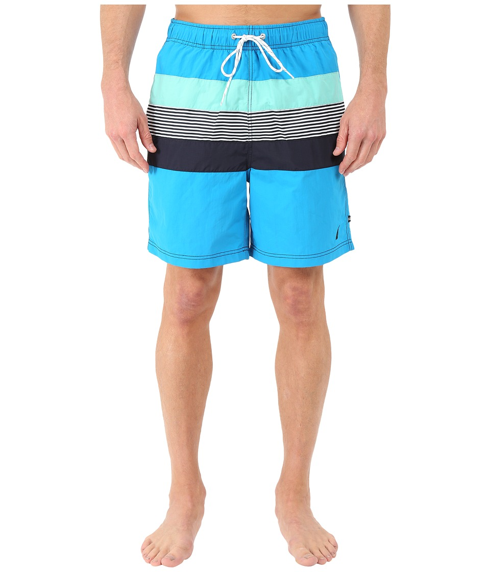 Nautica - Stripe Color Block Trunk (Star Turquoise) Men's Swimwear