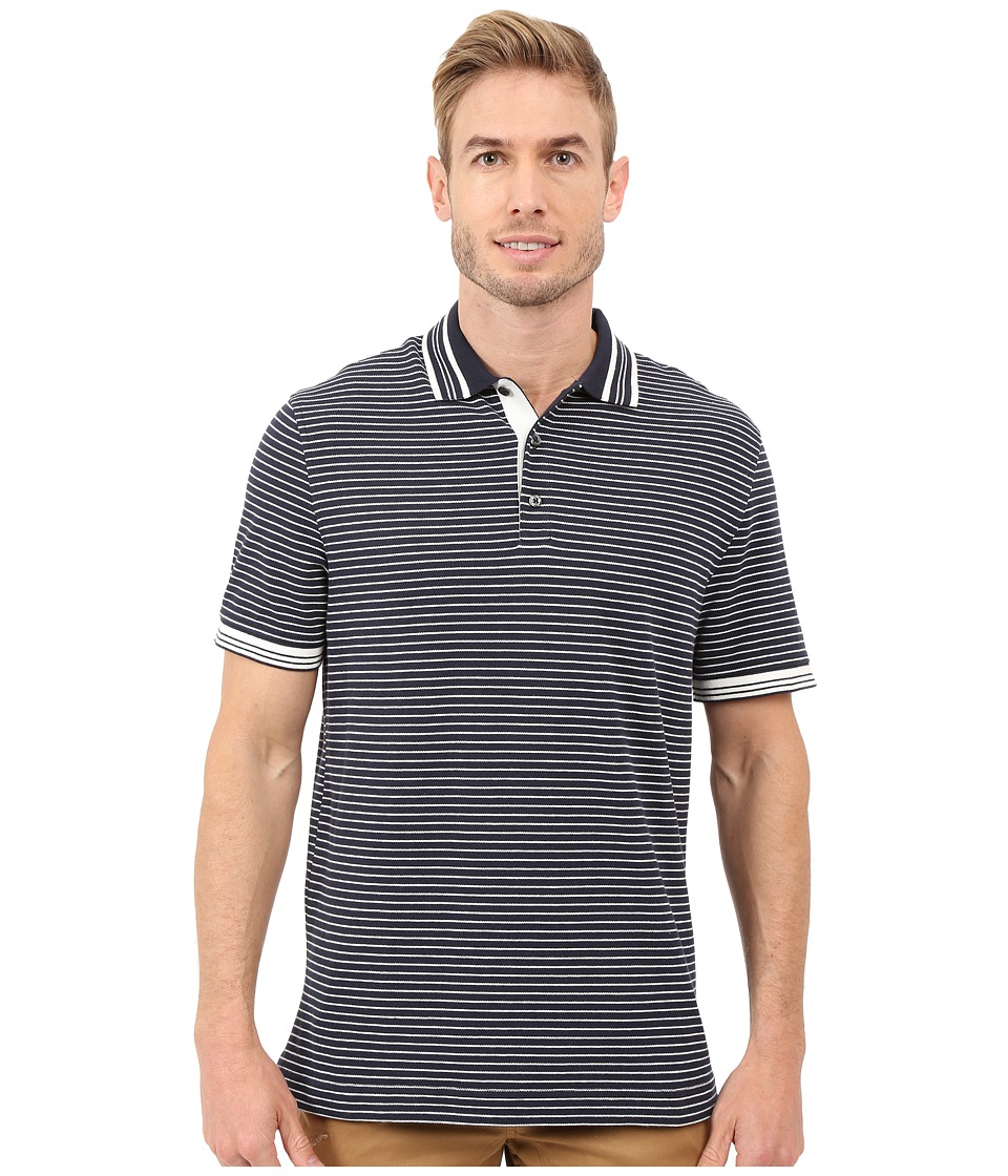 Nautica - Short Sleeve Yarn-Dye Striped Polo (True Navy) Men's Short Sleeve Knit