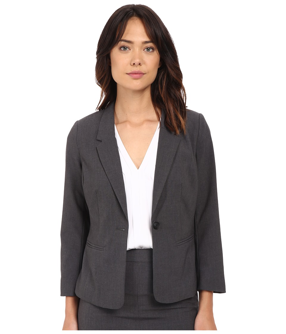 kensie - Heather Stretch Crepe Blazer KS2K2S54 (Heather Dark Grey) Women's Jacket