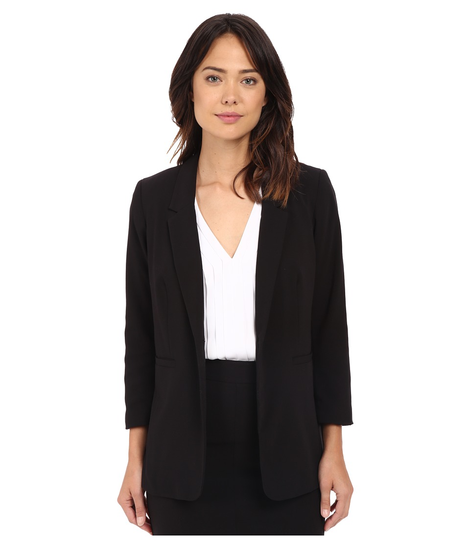 kensie - Stretch Crepe Longer Blazer KS2K2124 (Black) Women's Jacket