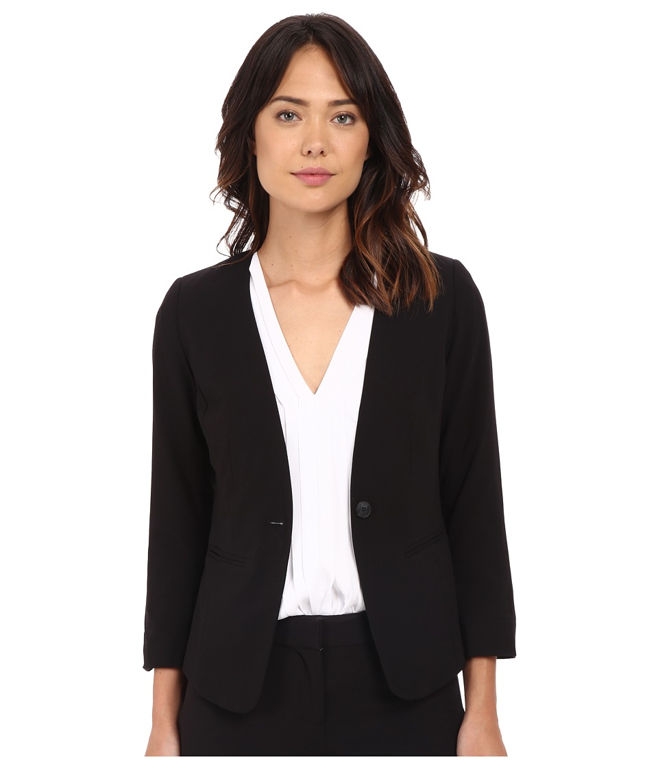 kensie - Stretch Crepe Collareless Blazer KS2K2165 (Black) Women's Jacket