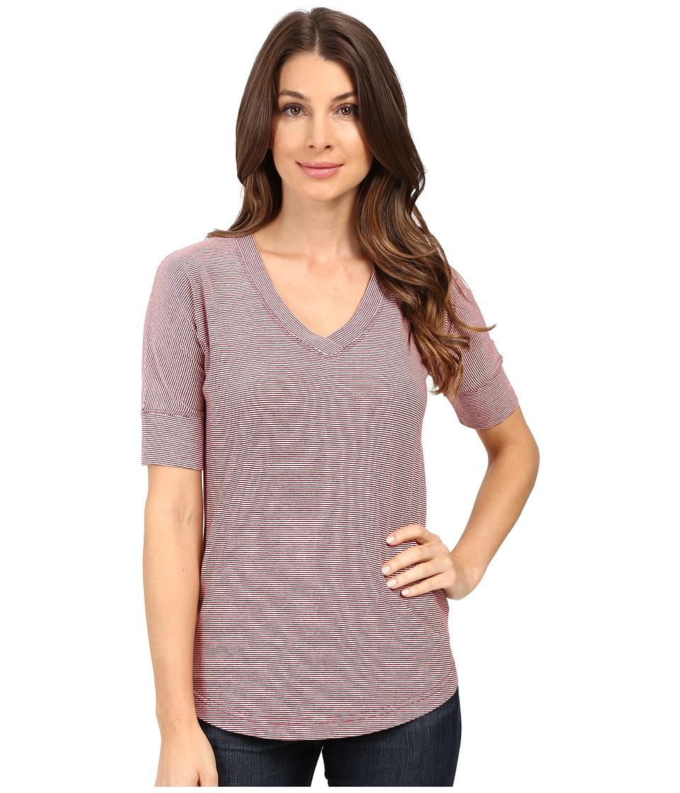Mod-o-doc - Mini Stripe Dolman Sleeve V-Neck (Burgundy) Women's T Shirt