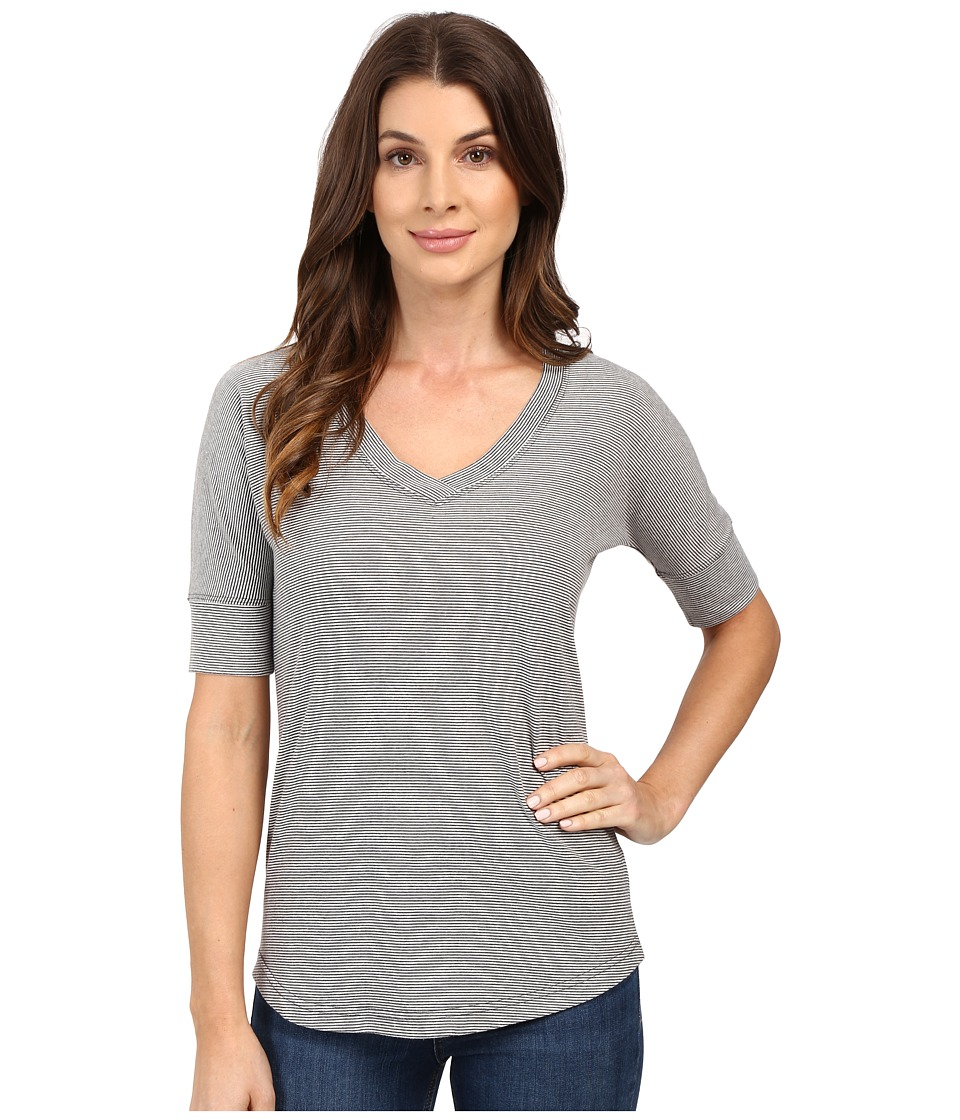 Mod-o-doc - Mini Stripe Dolman Sleeve V-Neck (Grey) Women's T Shirt