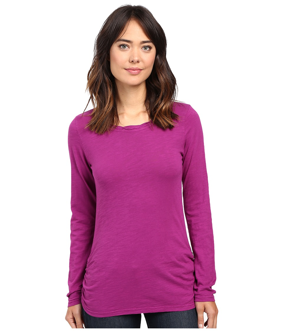Mod-o-doc - Slub Jersey Long Sleeve Twisted Scoopneck Tee (Dark Fuschia) Women's T Shirt