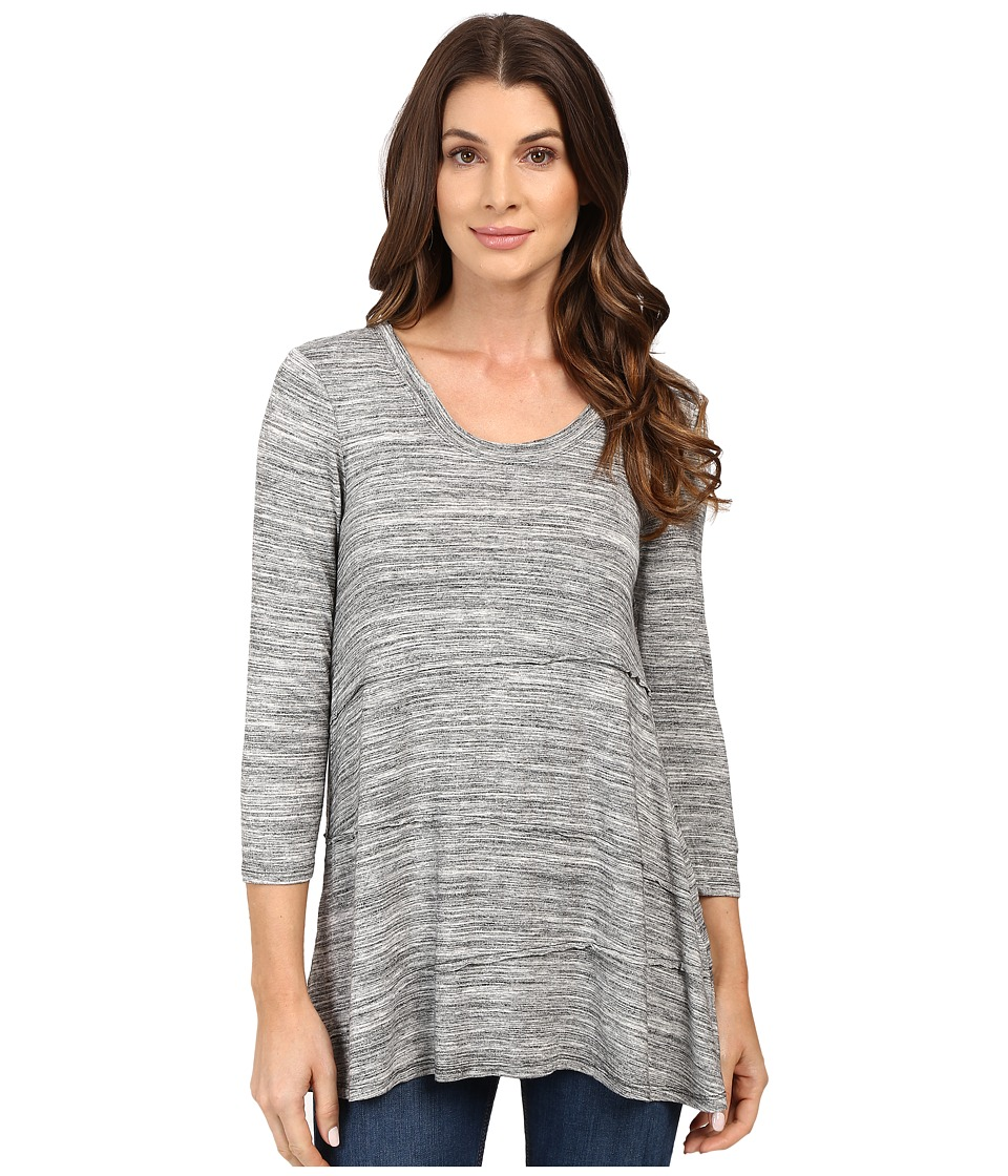 Mod-o-doc - Space Dye Rayon Spandex Jersey Raw Edge Seamed Tee (Charcoal Heathe) Women's T Shirt