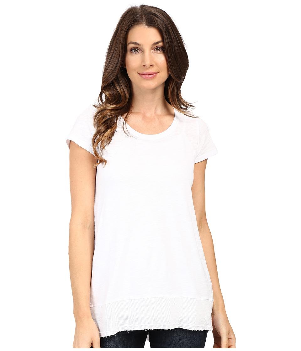 Mod-o-doc - Slub Jersey Short Sleeve Rib Band Tee (White) Women's T Shirt