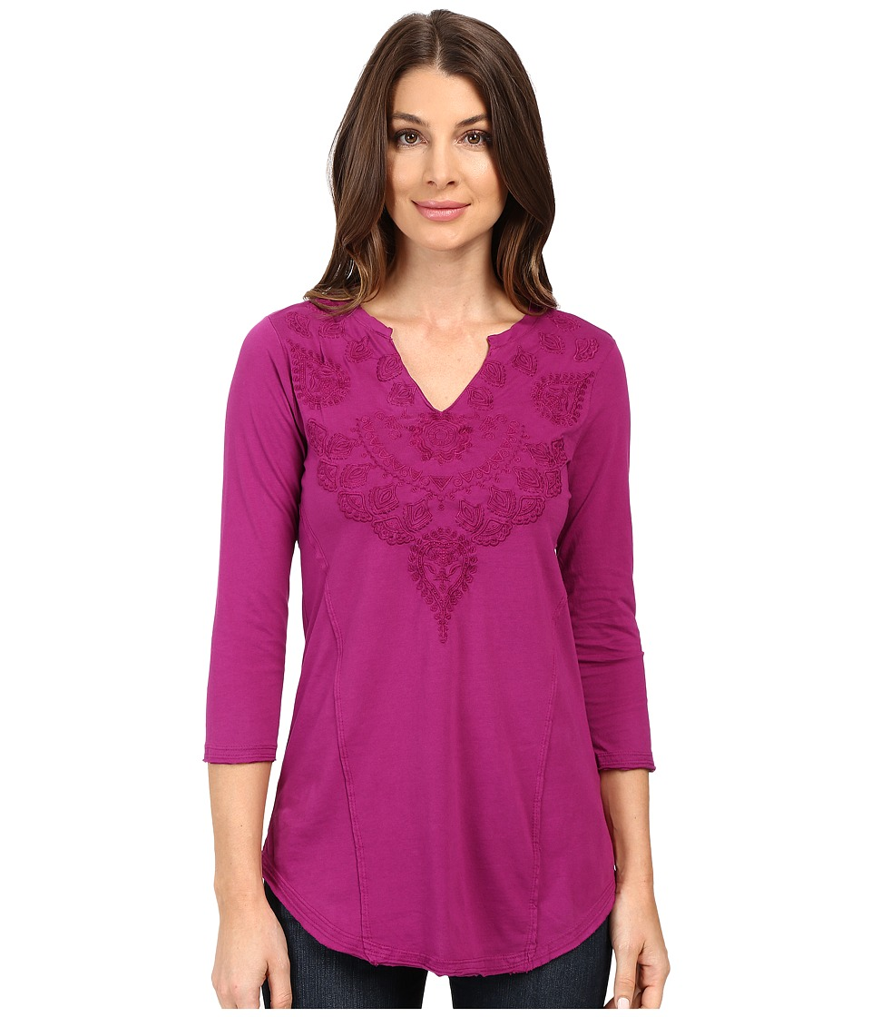 Mod-o-doc - Classic Jersey Embroidered Split-Neck Tee (Dark Fuchsia) Women's T Shirt