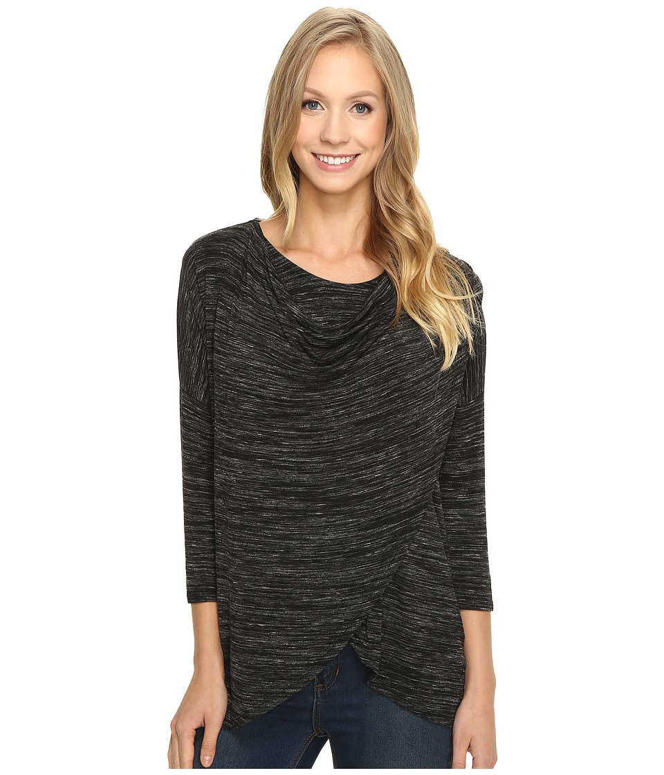 Mod-o-doc - Space Dye Rayon Spandex Jersey Cowl Neck Crossover Tee (Black Heather) Women's T Shirt