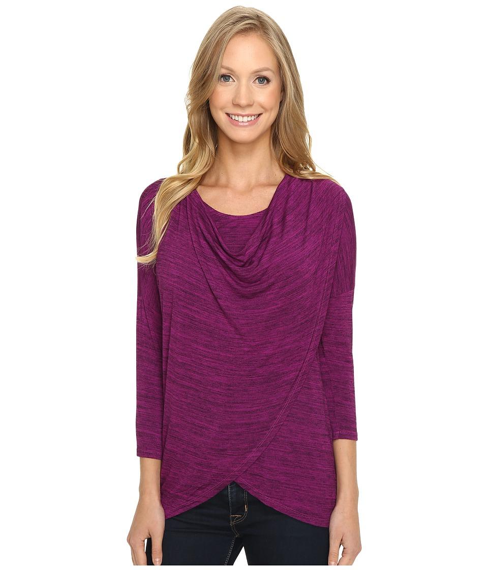 Mod-o-doc - Space Dye Rayon Spandex Jersey Cowl Neck Crossover Tee (Dark Fuchsia) Women's T Shirt