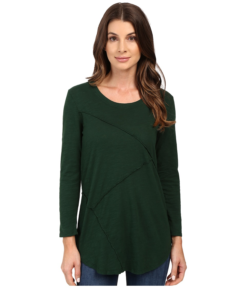 Mod-o-doc - Slub Jersey Asymmetrical Raw Edge Seamed Tee (Cypress) Women's T Shirt