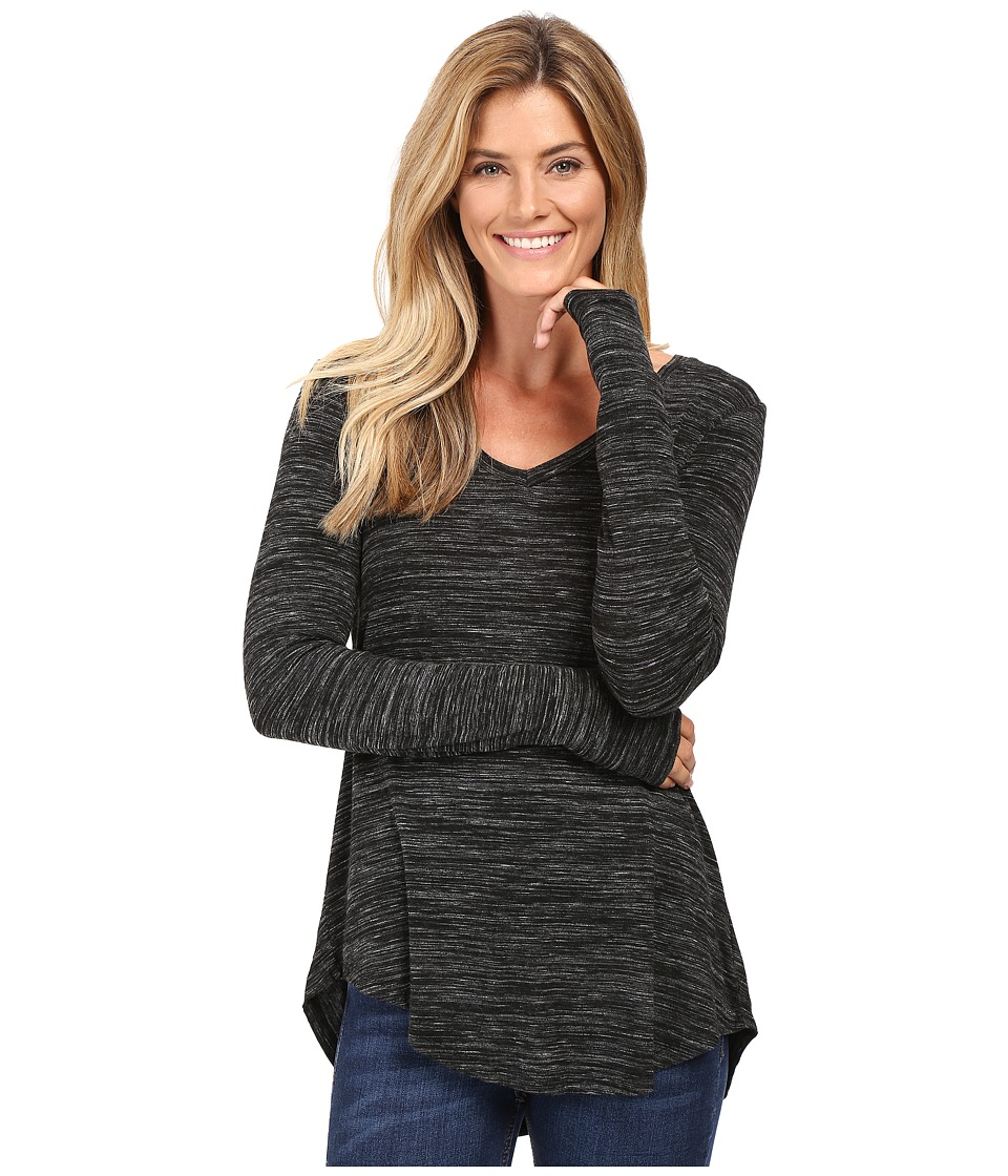 Mod-o-doc - Space Dye Rayon Spandex Jersey Back Knot Long Sleeve Tee (Black Heather) Women's T Shirt