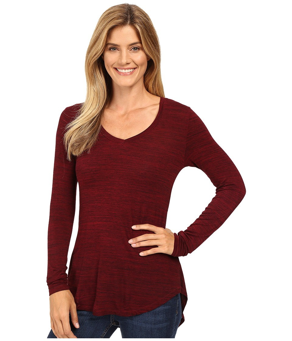 Mod-o-doc - Space Dye Rayon Spandex Jersey Back Knot Long Sleeve Tee (Chianti) Women's T Shirt