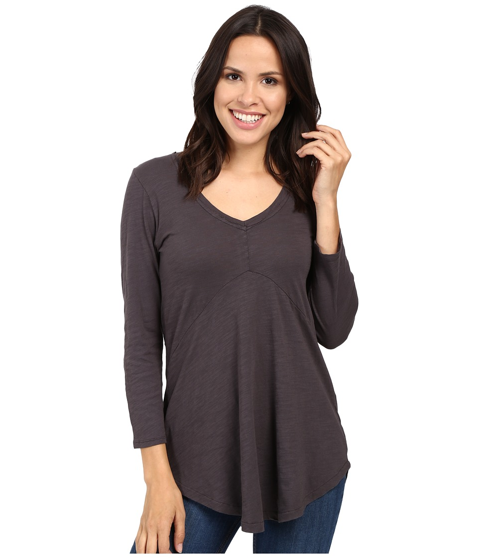 Mod-o-doc - Slub Jersey 3/4 Sleeve V-Neck Tunic (Dark Nickel) Women's Long Sleeve Pullover