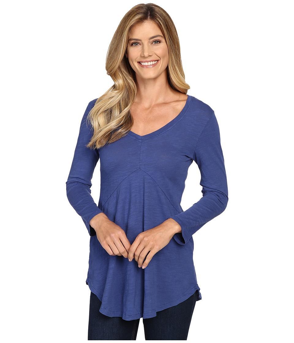 Mod-o-doc - Slub Jersey 3/4 Sleeve V-Neck Tunic (Bluestone) Women's Long Sleeve Pullover