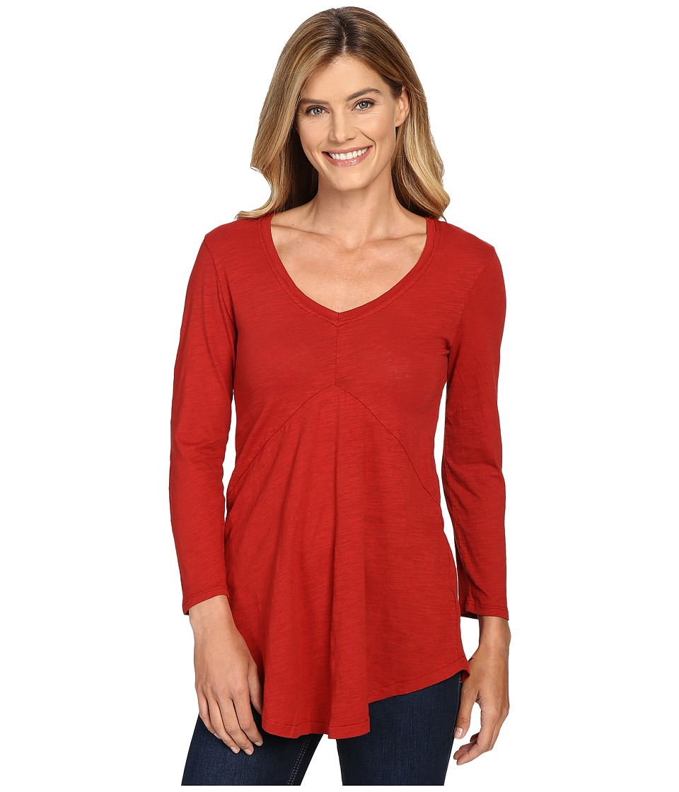 Mod-o-doc - Slub Jersey 3/4 Sleeve V-Neck Tunic (Chicory) Women's Long Sleeve Pullover