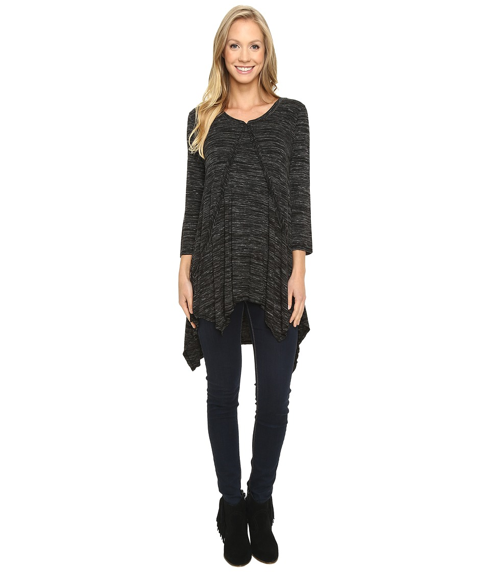 Mod-o-doc - Space Dye Rayon Spandex Jersey Raw Edge Hanky Hem Tunic (Black Heather) Women's Long Sleeve Pullover