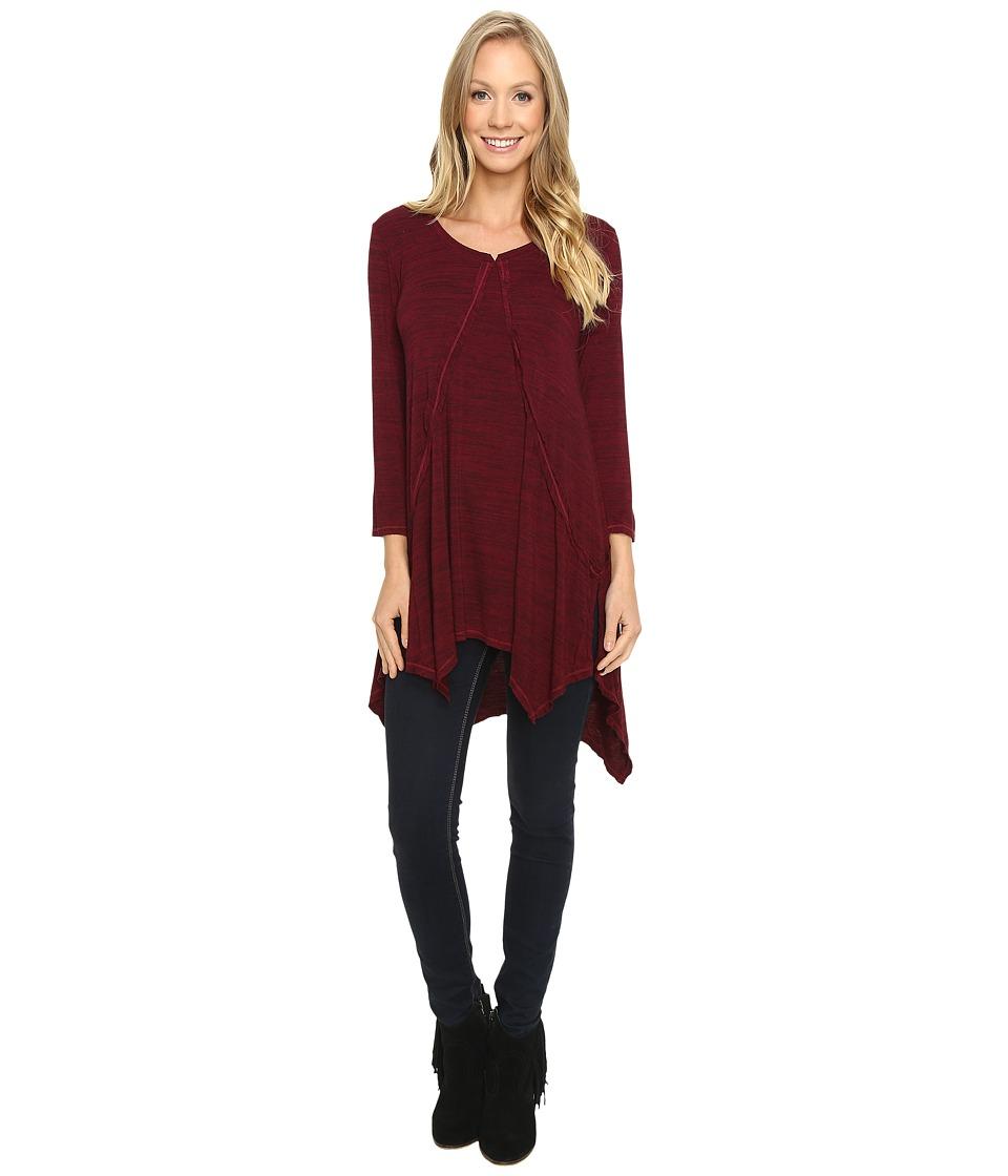 Mod-o-doc - Space Dye Rayon Spandex Jersey Raw Edge Hanky Hem Tunic (Chianti) Women's Long Sleeve Pullover