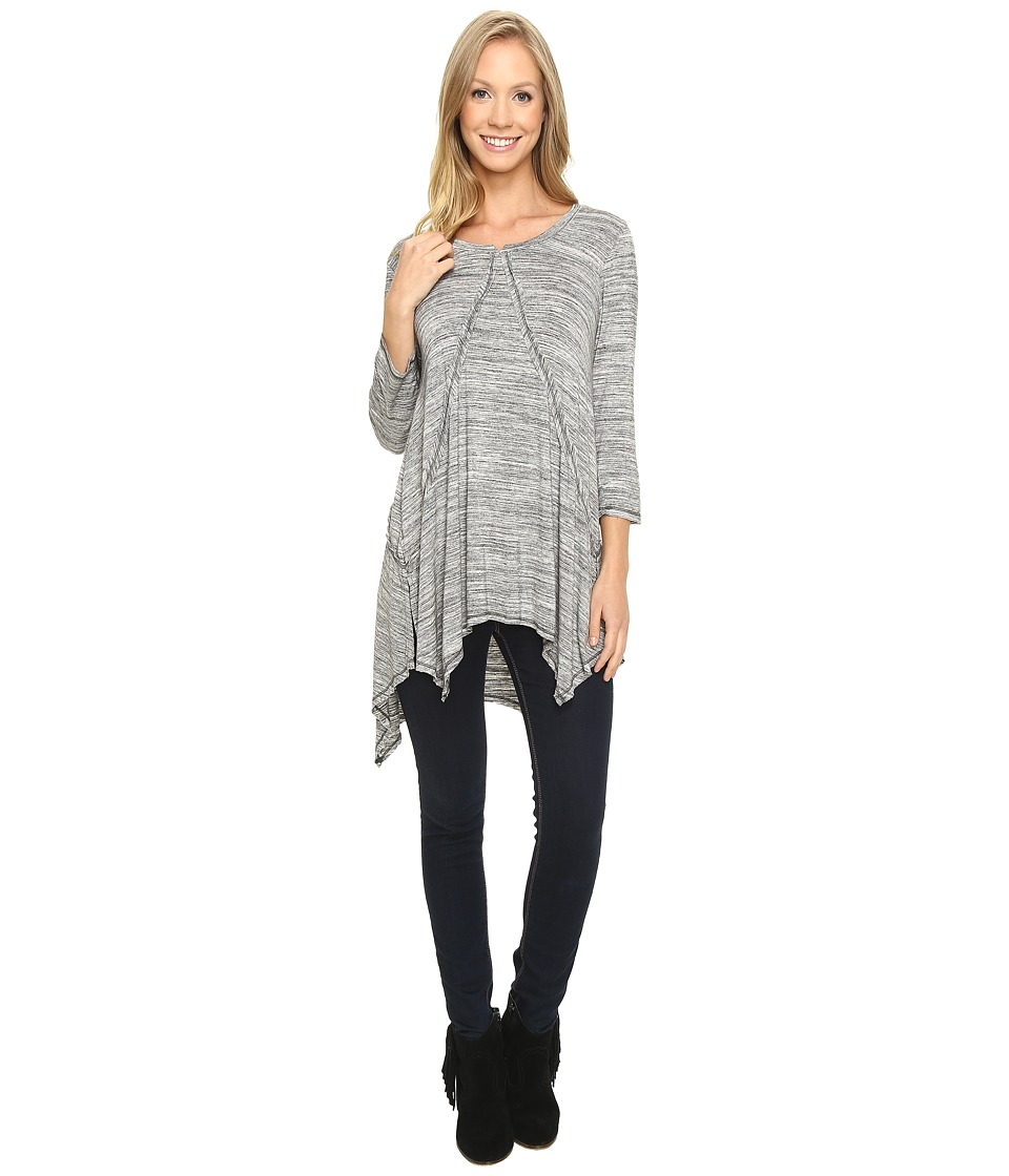 Mod-o-doc - Space Dye Rayon Spandex Jersey Raw Edge Hanky Hem Tunic (Charcoal Heathe) Women's Long Sleeve Pullover