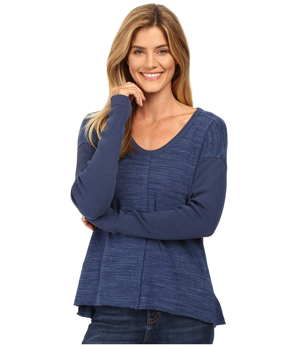 Mod-o-doc - Heavenly Jersey Raw Edge Side Vented Pullover w/ Rib Sleeve (Blue) Women's Long Sleeve Pullover