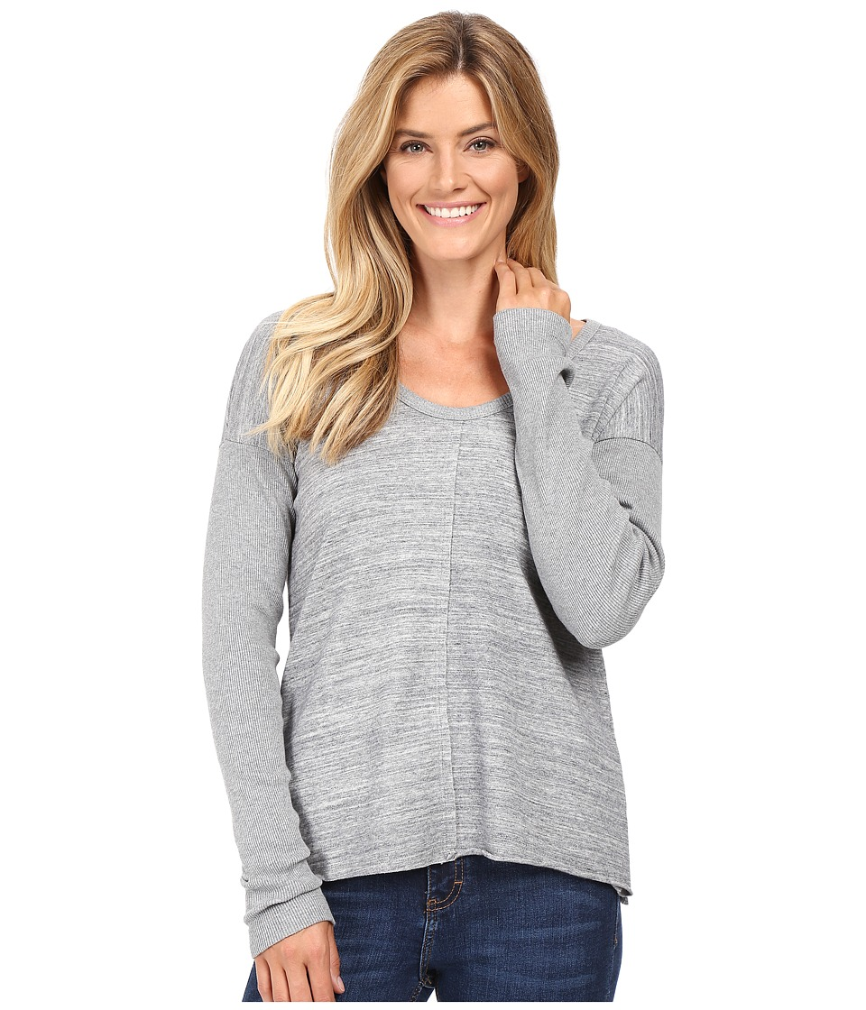 Mod-o-doc - Heavenly Jersey Raw Edge Side Vented Pullover w/ Rib Sleeve (Grey) Women's Long Sleeve Pullover