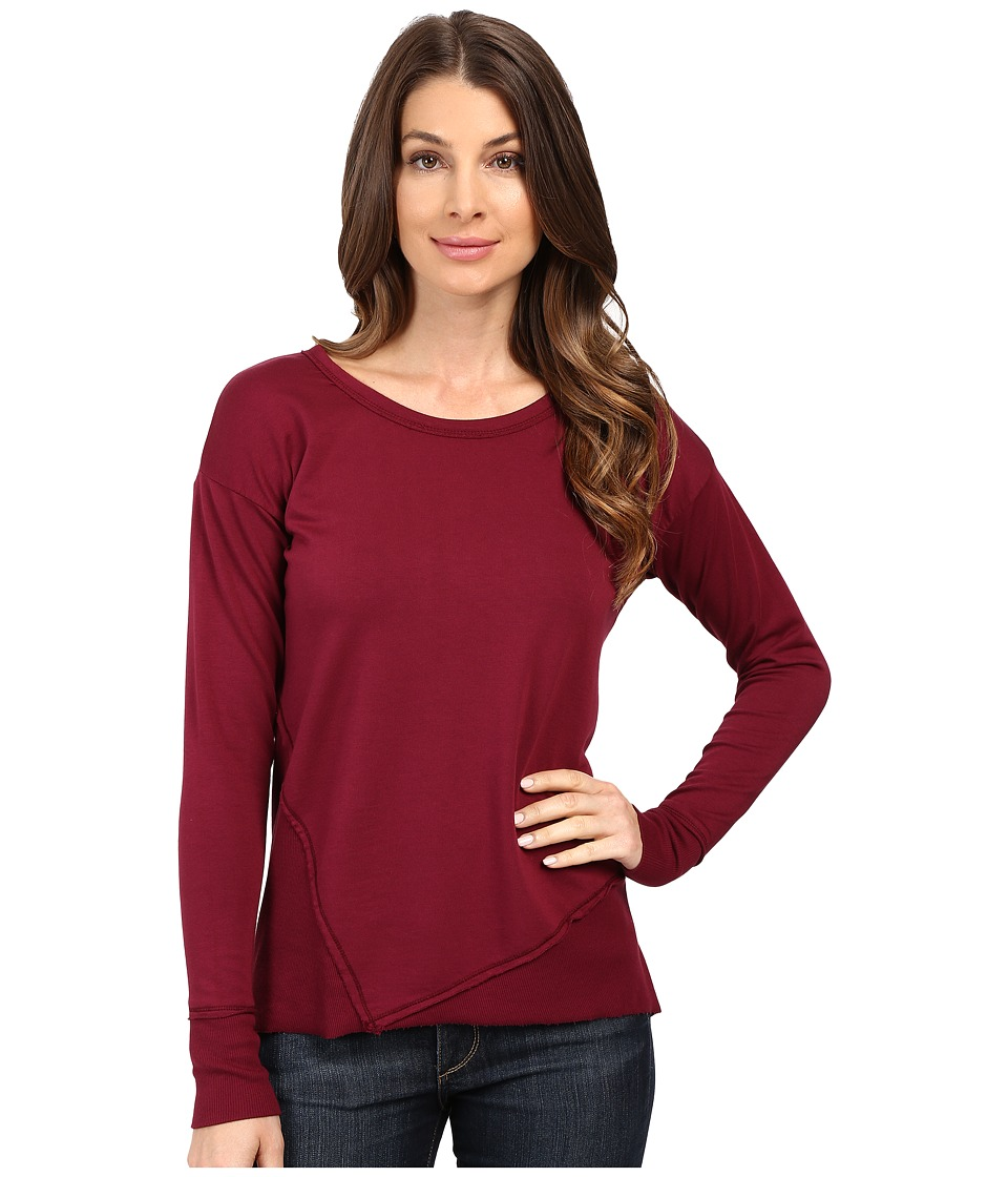 Mod-o-doc - Cotton Spandex French Terry Asymmetrical Seamed Pullover w/ Contrast Rib (Chianti) Women's Clothing