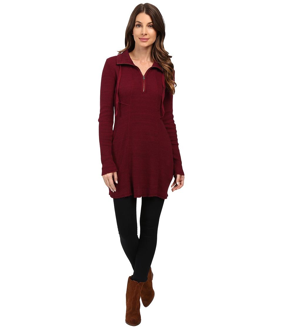 Mod-o-doc - Space Dye Thermal 1/4 Zip Tunic (Chianti) Women's Clothing