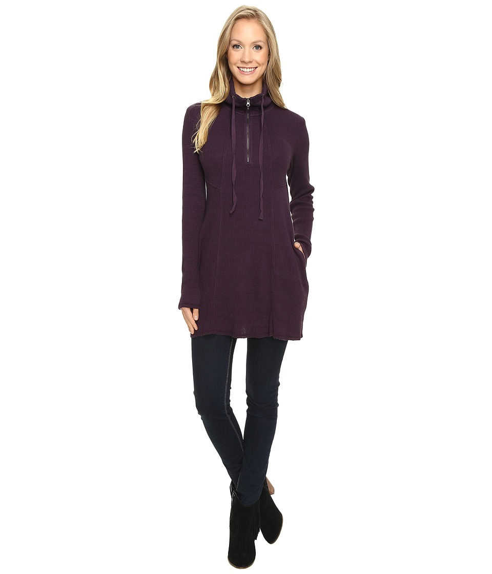 Mod-o-doc - Space Dye Thermal 1/4 Zip Tunic (Aubergine) Women's Clothing