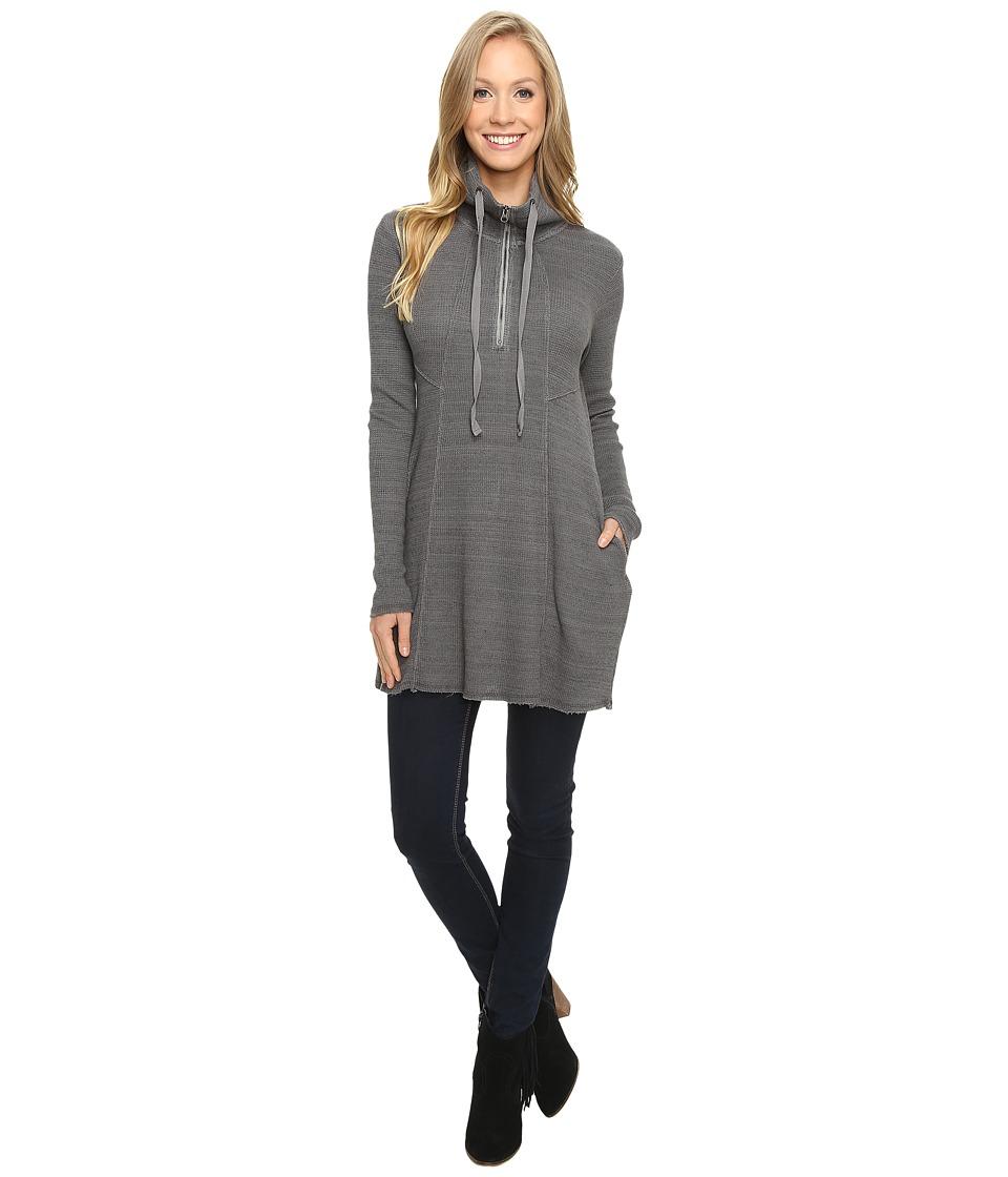 Mod-o-doc - Space Dye Thermal 1/4 Zip Tunic (Stormy) Women's Clothing