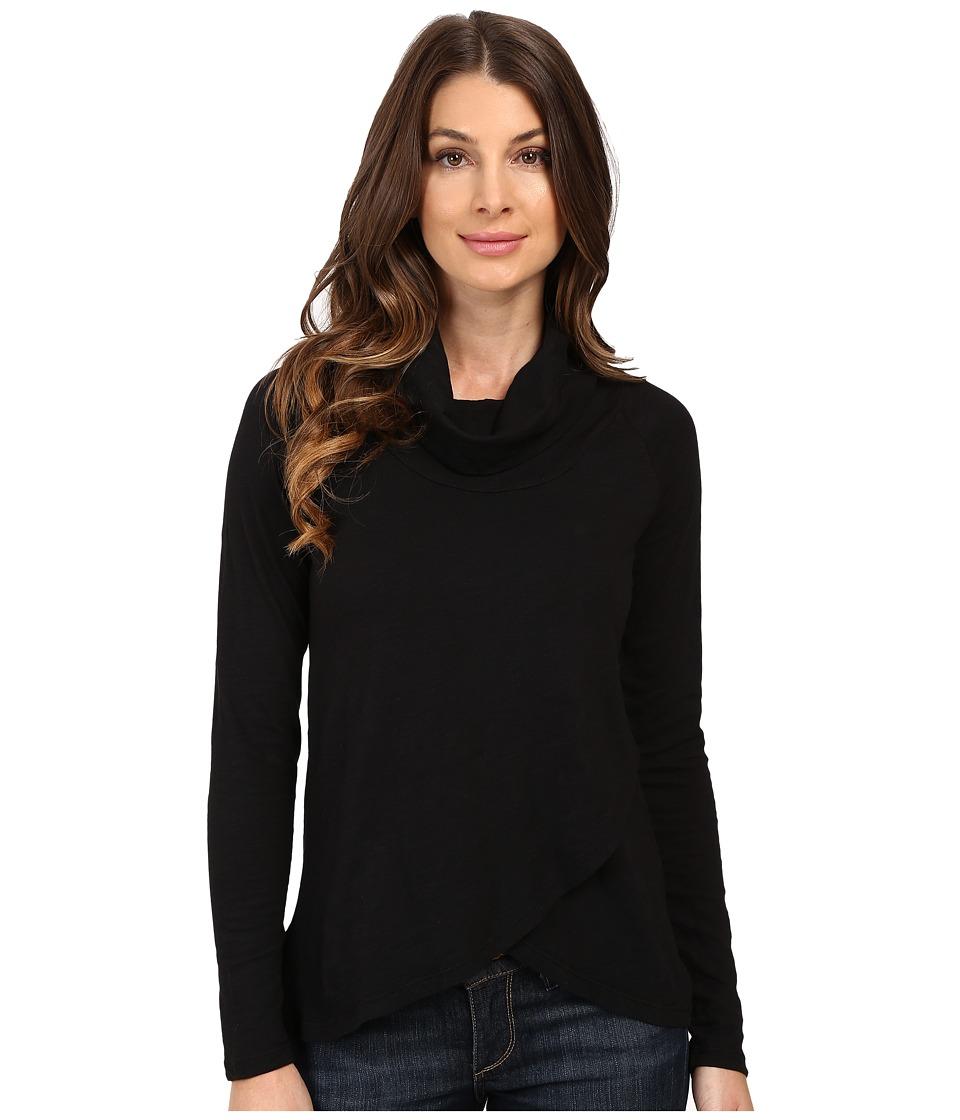 Mod-o-doc - Slub Jersey Slouchy Funnel Crossover Hem Tunic (Black) Women's Clothing