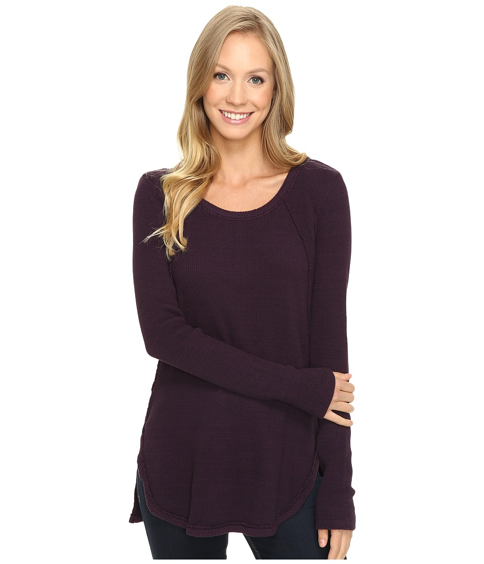 Mod-o-doc - Space Dye Thermal Raw Edge Seamed Tunic (Aubergine) Women's Clothing