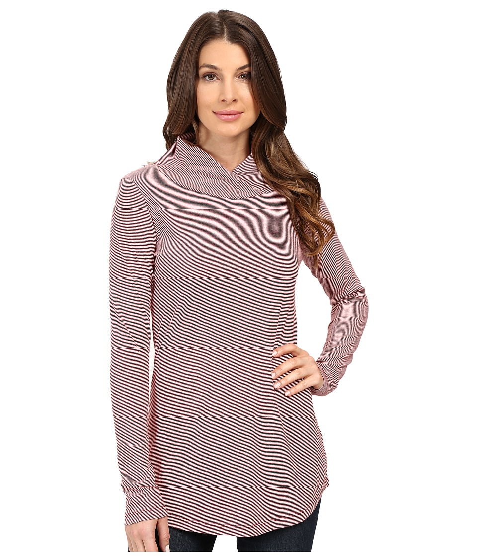 Mod-o-doc - Mini Stripe Slouchy Crossover Funnel Tunic (Burgundy) Women's Clothing
