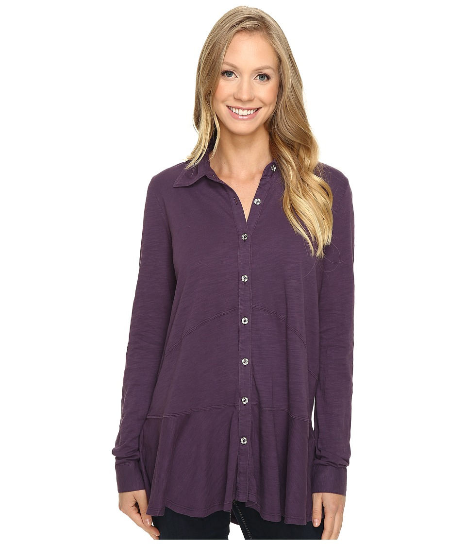 Mod-o-doc - Slub Jersey Long Sleeve Button Front Tunic (Aubergine) Women's Long Sleeve Button Up