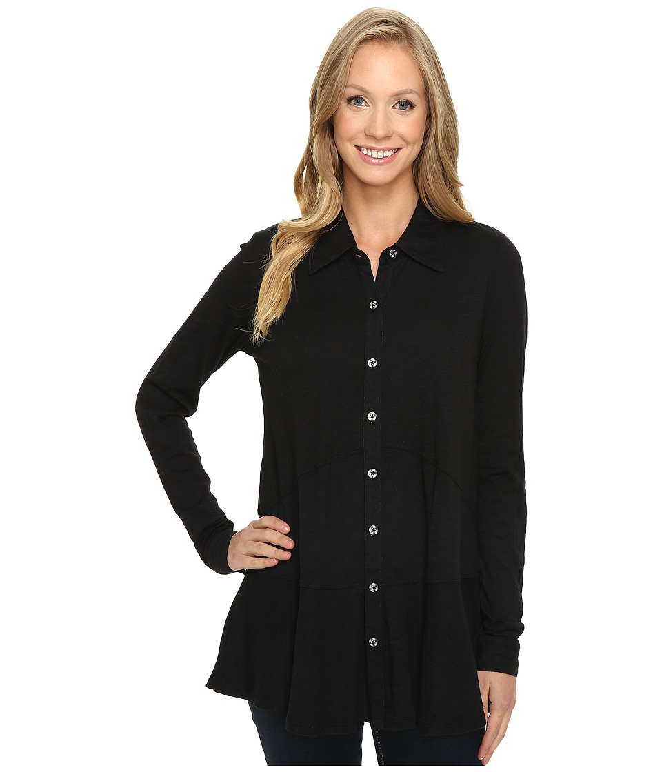 Mod-o-doc - Slub Jersey Long Sleeve Button Front Tunic (Black) Women's Long Sleeve Button Up