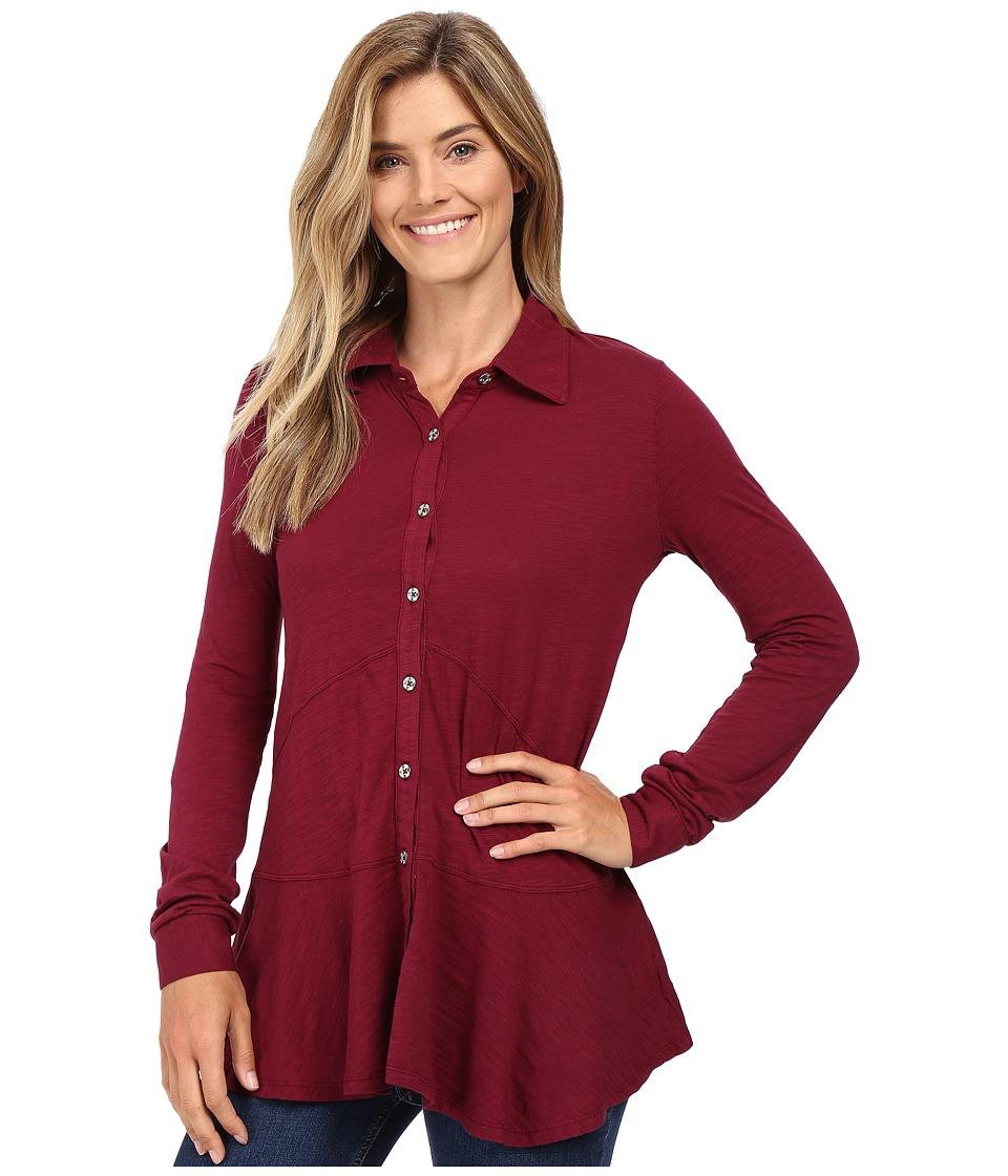 Mod-o-doc - Slub Jersey Long Sleeve Button Front Tunic (Chianti) Women's Long Sleeve Button Up