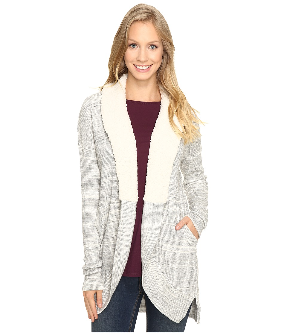 Mod-o-doc - Space Dye Thermal Sherpa Collar Cardigan (Natural) Women's Sweater