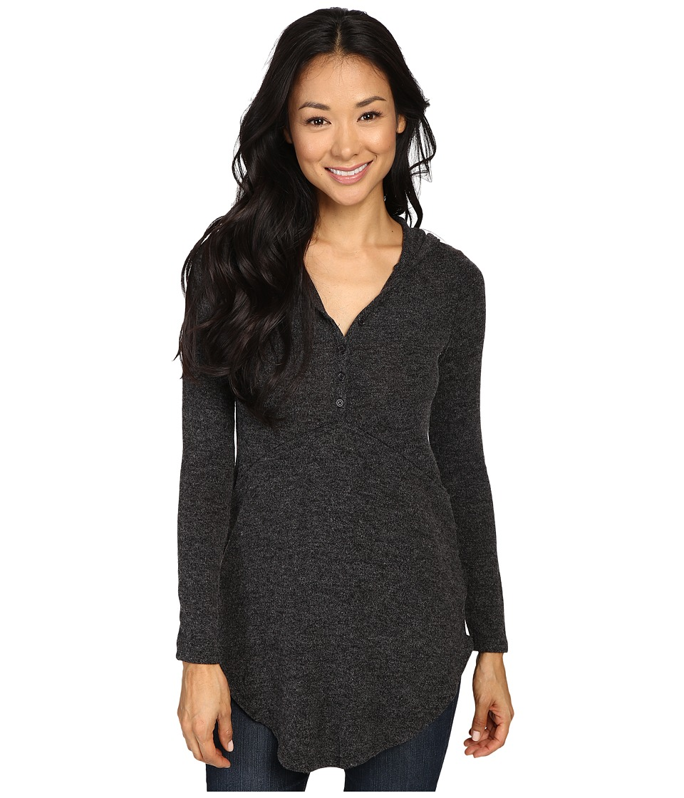 Mod-o-doc Luxe Heather Sweater Henley Hoodie (Black Heather) Women