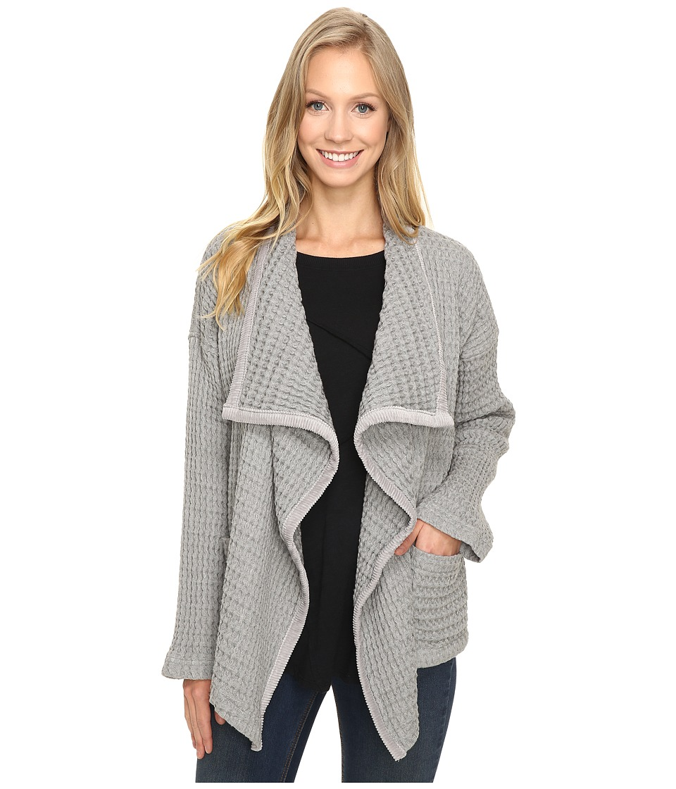 Mod-o-doc - Signature Waffle Slouchy Big Collar Cardigan (Smoke Heather) Women's Sweater
