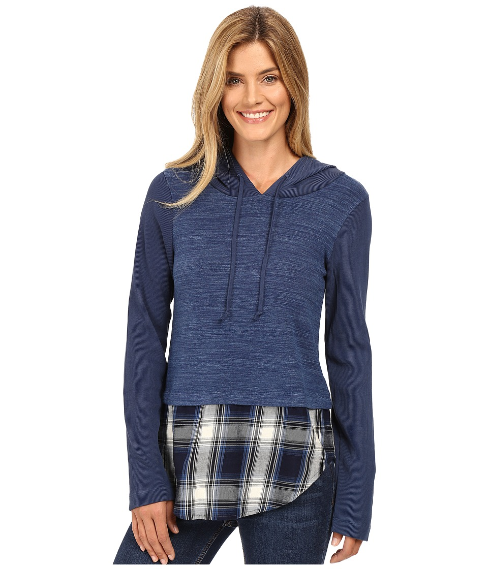 Mod-o-doc - Heavenly Jersey Pullover Hoodie w/ Contrast Flannel Hem (Blue) Women's Sweatshirt