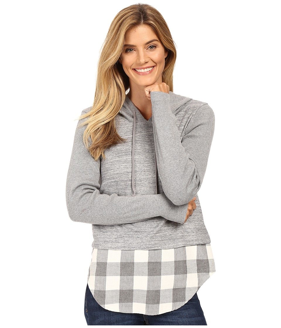 Mod-o-doc - Heavenly Jersey Pullover Hoodie w/ Contrast Flannel Hem (Grey) Women's Sweatshirt